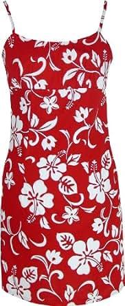 Empire Mini Sundress - Women's Classic Hibiscus Spaghetti Strap Hawaiian Aloha Form Fitting Sun Dress in Red - XL