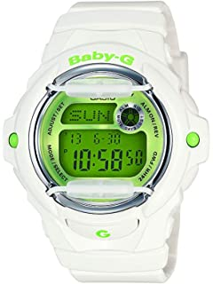 Casio Womens Baby G Quartz 200M WR Shock Resistant Resin Color: White with Green Face