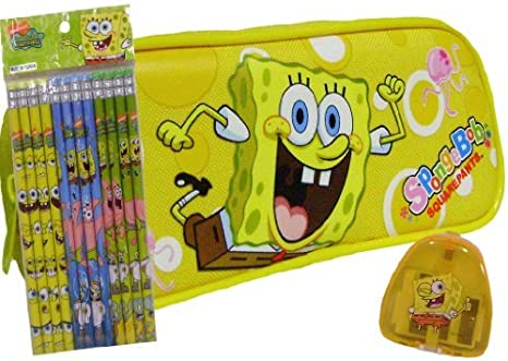Zippered Pencil Pen Crayon Case SpongeBob Squarpants Pencil Pouch