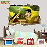 """AMAZING DECALZ Curious George Funny HAT Graphic Broken Wall 3D Sticker Decal Removable Mural Decor Art Wallpaper Baby Kids Children Nursery Living Room Peel & Stick (Medium (Height 16.5""""x 25"""" Wide))"""