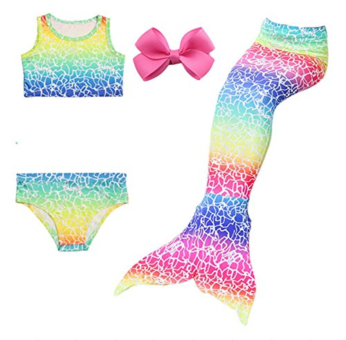 (Chenzengdi 3 Pcs Mermaid Tail Swimsuit Swimwear for Kids Girls Swimming Bikini Sets Costumes (120cm/5-6 Years,)