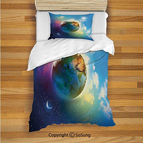 SoSung Apartment Decor Kids Duvet Cover Set Twin Size, Earth Outer Space Scene in Vibrant Color Enchanted Cosmos Atmosphere Image 2 Piece Bedding Set with 1 Pillow Sham,Blue - Cover Duvet Set Enchanted