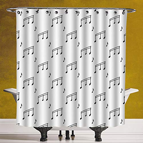 Cool Shower Curtain 3.0 [ Music,Musical Notes Themed Melody Sonata Singing Songs Clef Tunes Hand Drawn Style Pattern Print,Black ] Digital Print Polyester Fabric Bathroom Set
