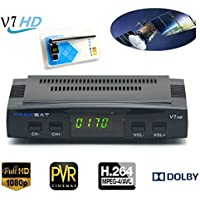 DVB-S2 Freesat V7 HD Mini Satellite Receiver with USB WiFi 1080P HD TV Box Receiver, Digital Video Broadcasting Receiver ,Set Top Box Support PowerVu Biss Key Cccamd Newcamd Youporn