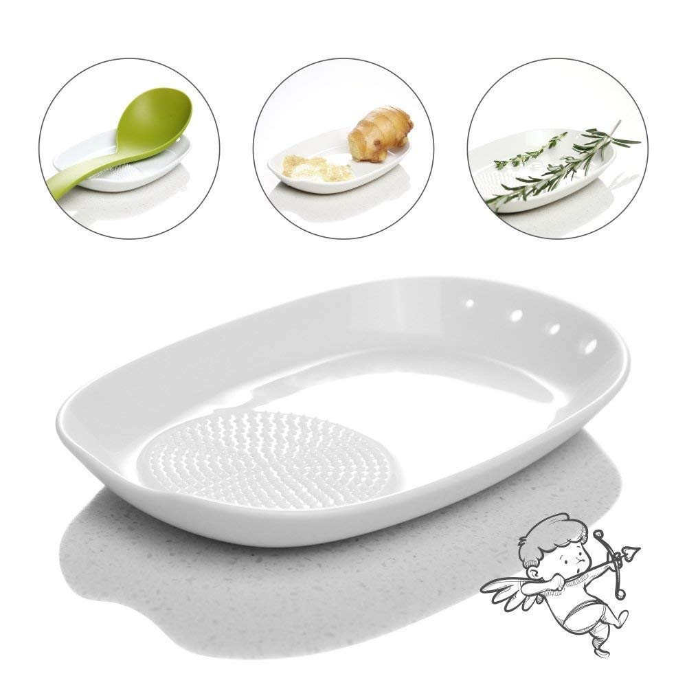 3-in-1 Ceramic Ginger Grater Spoon Rest Herb Stripper 11 * 16.5cm with Mini Brush - Porcelain Grater Plate for Ginger, Garlic, Onion and More - Easy to Clean and Storage - by Kitchendao