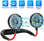 Hands Free Portable Neck Fan,Mini Portable USB Rechargeable Fan, 360 Degrees Free Rotation Perfect for Traveli
