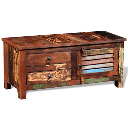 vidaXL TV/Hi-Fi Side Cabinet Door 2 Drawers Storage Space Reclaimed Solid Wood Handmade from vidaXL