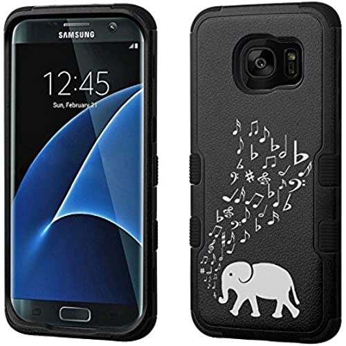 Fit Galaxy S7 EDGE, One Tough Shield  3-Layer Shock Absorbent Hybrid phone Case (Black / Black) for Samsung Galaxy S7 EDGE - (Elephant Music) Sales