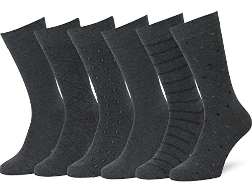 (Easton Marlowe Men's Classic Subtle Pattern Dress Socks - 6pk #4-7, Charcoal - 43-46 EU shoe)