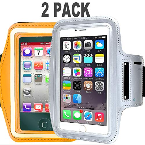 [2pack] Armband Phone Case for iPhone X XS XR MAX 8 7 6 6S Plus, LG G6, Galaxy s9 s8 s7 s6 Edge, Note 8 5 [Water Resistant] CaseHQ Sports Exercise Running Pouch Reflective Key Holder (Silver+Orange) ()