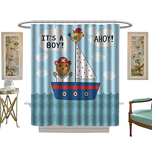 luvoluxhome Shower Curtain Collection by Cute Baby Invitation Card It a boy in Nautical Style W72 x L96 Custom Made Shower -