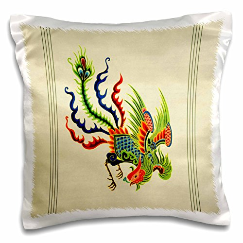- 3dRose Green, Blue and Red Swooping Chinese Rooster with Cream Background and Dark Line Accents Pillow Case, 16 x 16