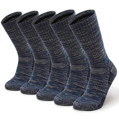 Petrala Mens Hiking Socks Medium Moisture Breathable Thick Cotton Ankle Padded Elastic All Dark Blue Sock 5 Pack (Double Sock Sole)