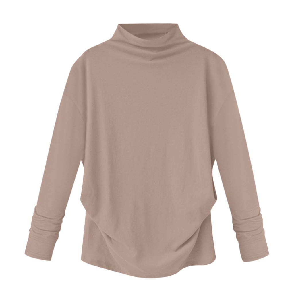Women Tops High Collar Slender Neck Long Sleeve Cotton Casual T Shirt Plus Size Summer Blouses