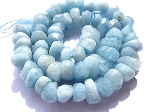 Aquamarine Faceted Nugget Bead (Weekbeads Genuine Aquamarine Beryl gemstone freeform nuggets Rondelle Faceted Blue beads 8-10mm full)