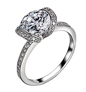 2.39Ct Enhanced Diamond(VS) Ribbon Engagement Ring Simulated CVD Coated Diamond 14k White Gold for Wedding Promise Anniversary