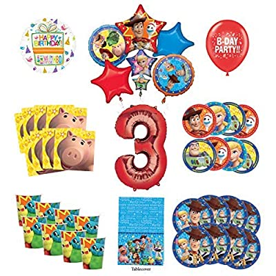 Toy Story 3rd Birthday Party Supplies 8 Guest Decoration Kit with Woody, Buzz Lightyear and Friends Balloon Bouquet: Toys & Games
