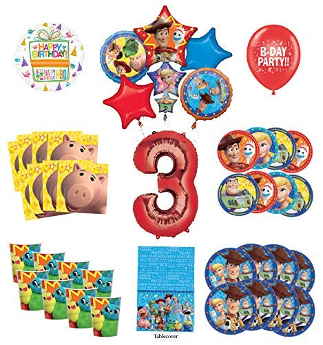 Toy Story 3rd Birthday Party Supplies 16 Guest Decoration Kit with Woody, Buzz Lightyear and Friends Balloon Bouquet ()