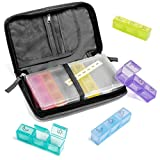 travelbug 21 Compartment Travel Pill Organizer with Premium Polyester Carrying Case | 7 Brightly Colored Daily Pill Boxes with Days of The Week Labels and Plastic Case