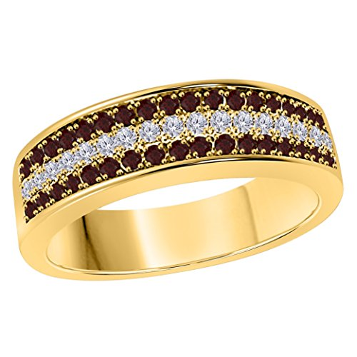 Silver Gems Factory 6MM 14K Yellow Gold Plated 1/2 Ct Red Garnet & White Cz Diamond Ring Three Row Pave Half Eternity Mens Wedding Band
