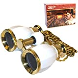 HQRP 4 x 30 Opera Glasses Binocular Antique Style White Pearl and Gold Trim w/ Necklace Chain 4x Extra High Magnification with Crystal Clear Optic (CCO)