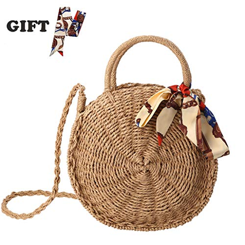 Bag Handwoven Round Rattan Bag Beach Shoulder Natural Straw Satchel Bag with Silk Scarf ()
