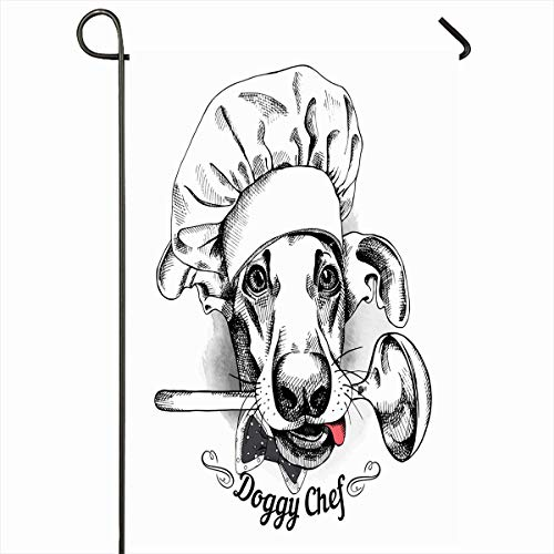 Ahawoso Garden Flag 12x18 Inches Face Bakery Dog Hat Chef Ladle Art Cook Culinary Pet Black Breed Design Outdoor Seasonal Home House Yard Sign Double Sides Printed Banner