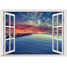 Winhappyhome Red Sunset Scenery 3D Fake Window Wall Art Stickers for Kids Room Nursery Living Room Background Removable Decor Decals
