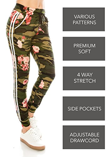 ALWAYS Women Drawstrings Jogger Sweatpants - Camo Military Army Printed Patterned Striped Premium Soft Stretch Pockets Pants S/M ()