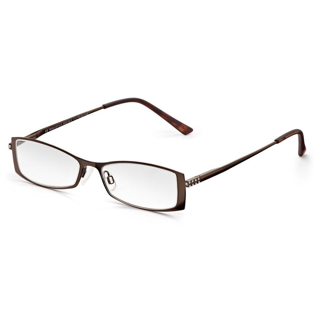Read Optics Castaña farbene rectangular Mujer diamantes Gafas de Lectura marrón +2.0