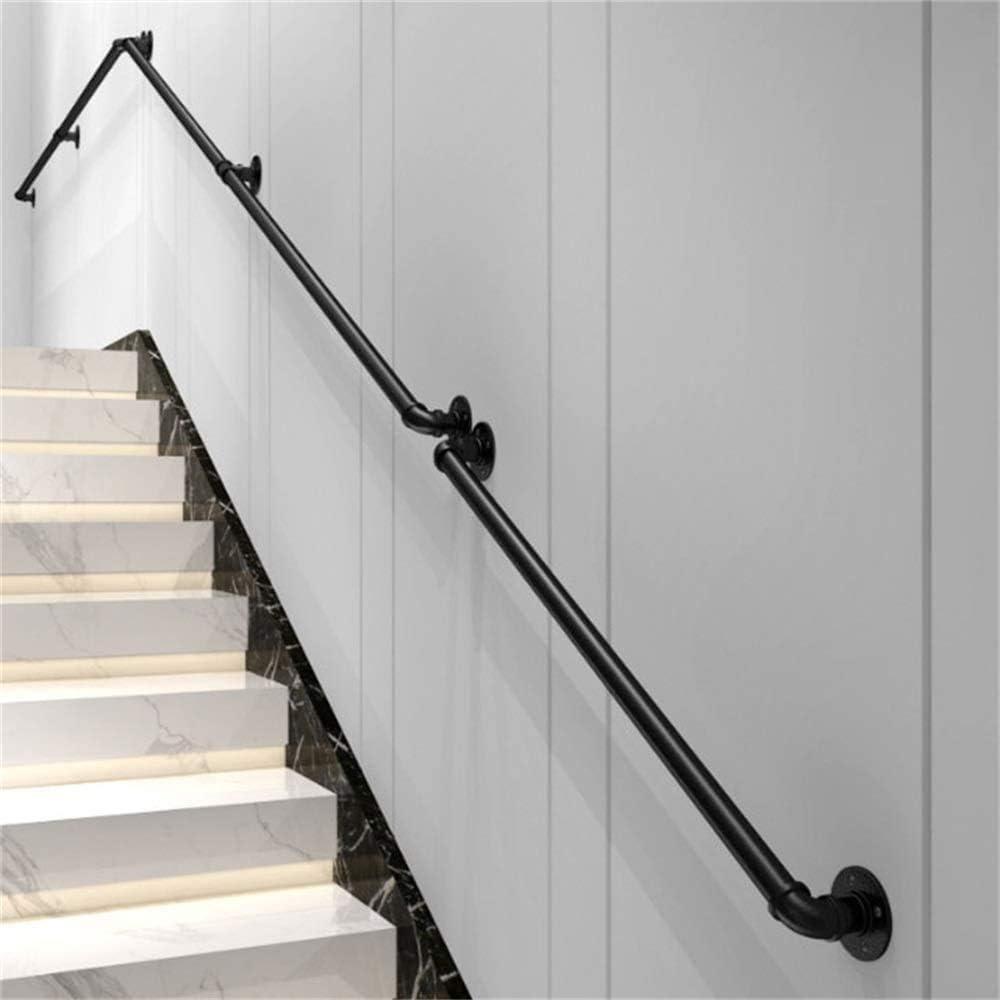 ABMOS Escaleras con peldaños de Hierro Forjado Pasamanos Negro Pasillos industriales para aerogeneradores Interiores Exteriores Ático Barandas para Ancianos y niños-180cm