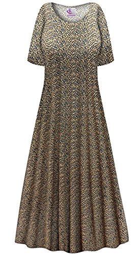 avy & Tan Dots Slinky Plus Size Supersize Short Sleeve A-Line Maxi Dress 4X (Tan Line Design)