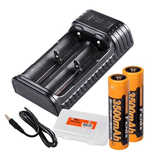 2 Channel Electronic - Fenix ARE-X2 Two Channel 18650 USB Smart Charger with 2x Fenix High Capacity 3500 mAh 18650 batteries and a bonus LumenTac Battery Organizer, for PD35, TK15, TK16, TK32 etc