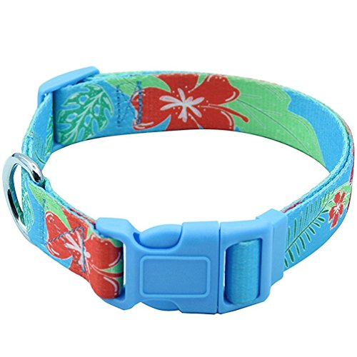 EXPAWLORER Hawaiian Dog Collar - Adjustable Heavy Duty Nylon Dog Collar with Tropical Floral Pattern Design, Perfect for Medium to Large Dog in (Hawaiian Dog Collar Collars)