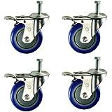 "Service Caster SCC-TSTTL20S414-PPUB-121315-BLUE-4 Total Lock Caster, Blue Polyurethane Wheel, 1/2""-13 x 1-1/2"" Threaded Stem (Pack of 4)"