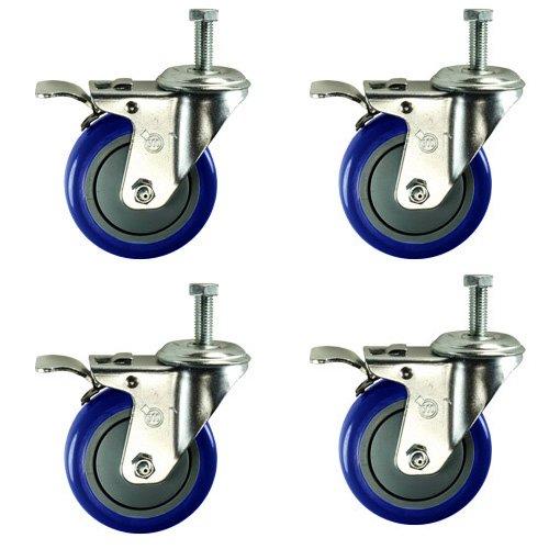 Service Caster SCC-TSTTL20S414-PPUB-121315-BLUE-4 Total Lock Caster, Blue Polyurethane Wheel, 1/2