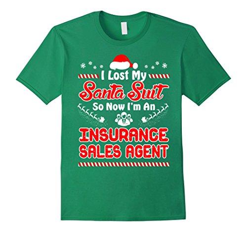 Mens Lost Santa Suit I Insurance Sales Agent Christmas Tshirt XL Kelly (Santa Suit For Sale)