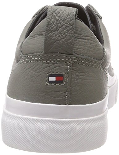 Ginnastica Tommy Leather Scarpe Grigio Basse Light Hilfiger Sneaker Uomo 004 Detail Grey Flag da 40Zqw0