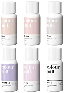 Colour Mill Oil-Based Food Coloring, 20 Milliliters Each of 6 Colors: Blush, Lavender, Lilac, Nude, Taupe and White