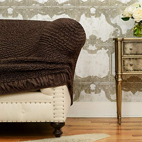 Sectional Sofa Cover - Corner Couch Cover - Corner Slipcover - Cotton Fabric Slipcovers - 1-piece Form Fit Stretch Furniture Slipcover - Mille Righe Collection - Brown (Corner Sofa) by PAULATO BY GA.I.CO. (Image #3)
