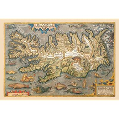Map of Iceland  Print (Unframed Paper Print 20x30)