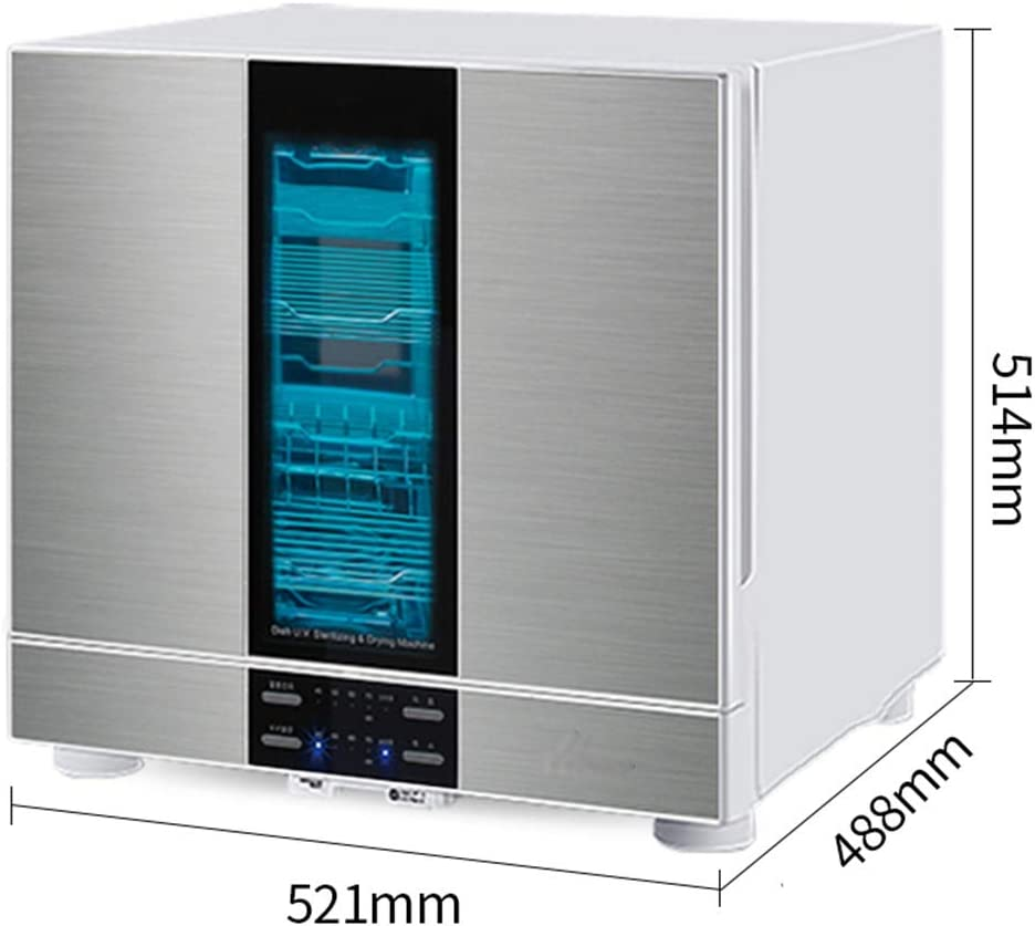 99.9/% Sterilization Rate Color : Silver, Size : 52.1 * 40.8 * 51.4cm Disinfection Cupboards Household Tableware Disinfection Cabinets Kitchen Small Desktop Disinfection Cupboards UV Disinfection