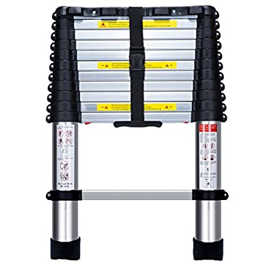14.8ft EN131 Telescoping Ladder Aluminum Telescopic Extension Multi Purpose Ladders with Touch release mechanism
