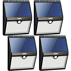 AMIR Solar Lights Outdoor, 16 LED Motion Sensor Wall Lights, Wireless Garden Security Light, Waterproof Solar Step Lights for Patio, Deck, Yard, Garden, Garage, Driveway, Pathway, Stairs, Pool,4 Pack