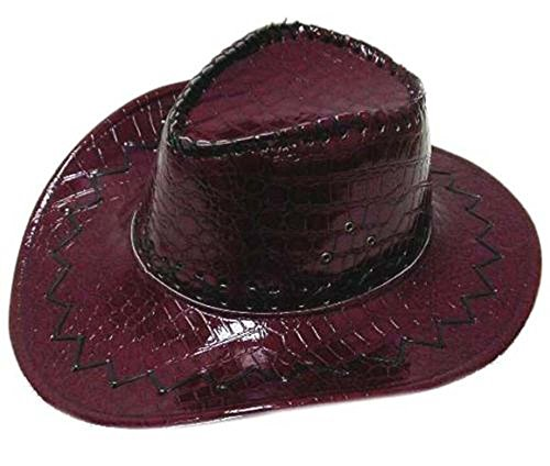 Deluxe Burgundy Simulated Snake Skin Men or Womens Western Style Cowboy / Cowgirl Hat