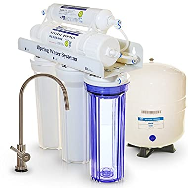 iSpring RCC7 Built in USA WQA Gold Seal Certified 5 Stage Reverse Osmosis Water Filter, 75 GPD,Transparent 1st Stage & Designer Faucet
