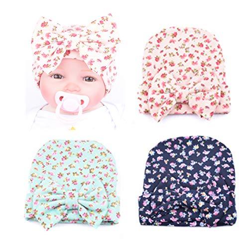 (BQUBO 3 Pack Floral Bow Newborn Hat Newborn Hospital Hat Infant Baby Hat Cap with Big Bow Nursery)