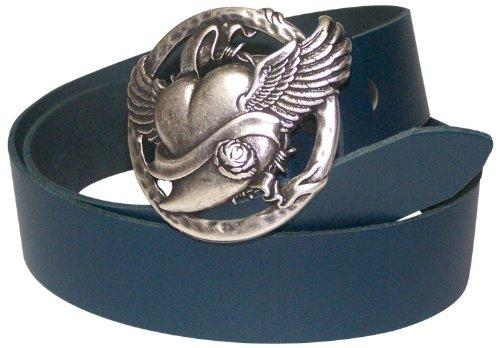 (Fronhofer women's genuine leather belt with silver winged heart buckle, Size:waist size 43.5 IN XL EU 110 cm,)