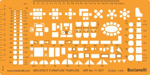 Metric 1200 Scale Architectural Drawing Template Stencil