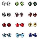 ORAZIO 12 Pairs Stainless Steel CZ Stud Earrings